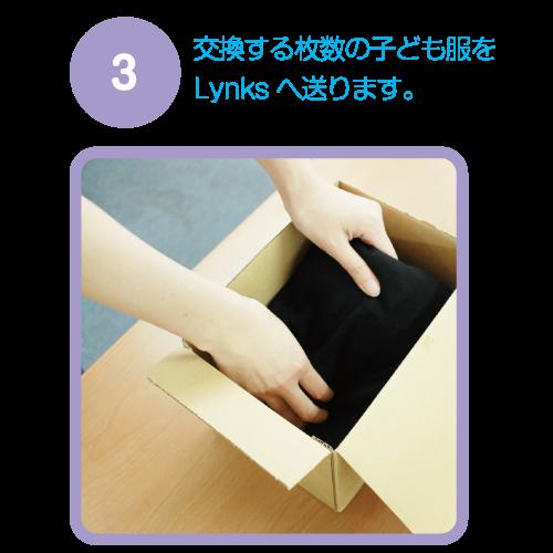 選んだ枚数ご自宅より子ども服をLynksに送る。